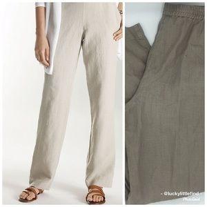 J.Jill • Khaki Flat Front Linen Pants S